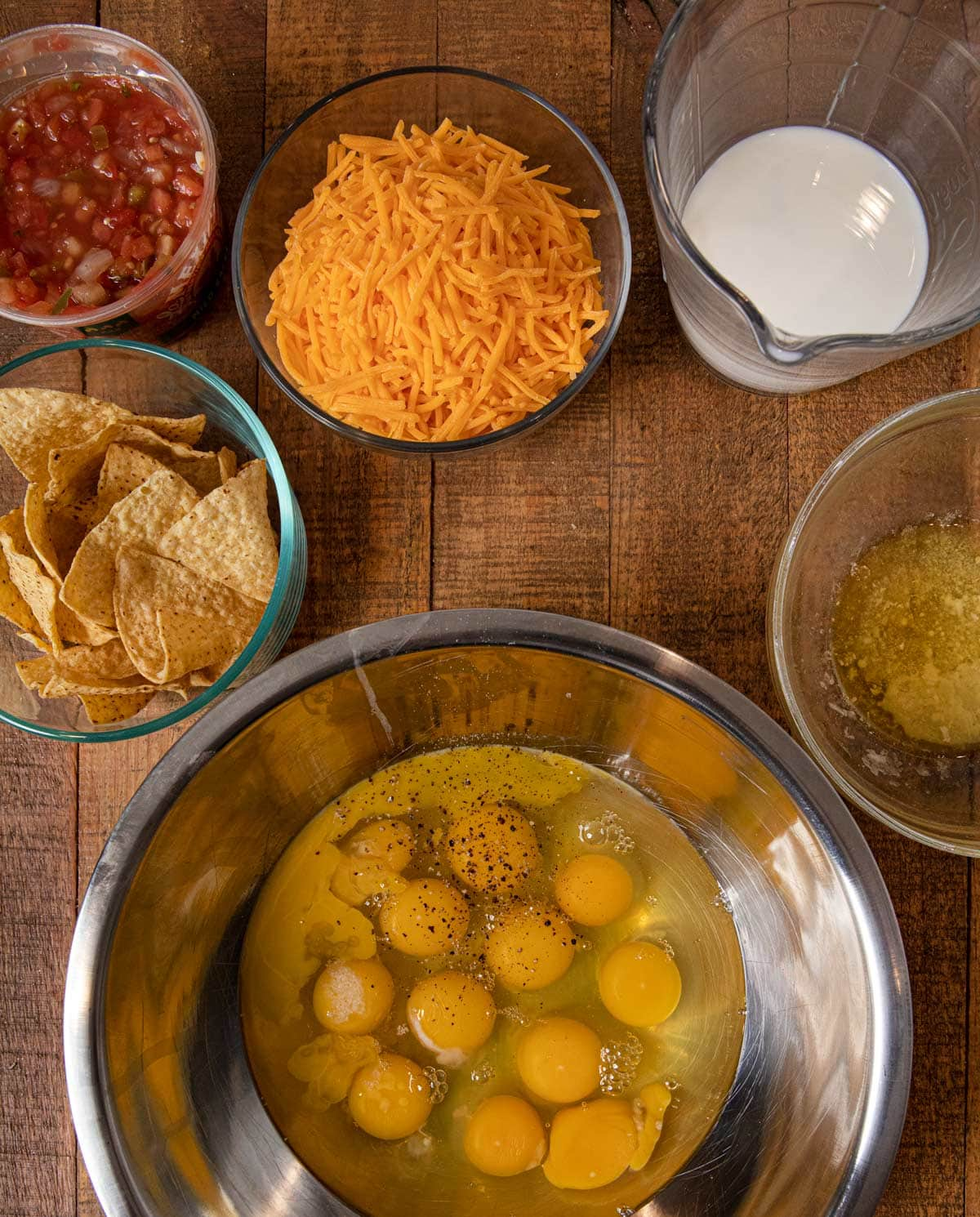 Cheesy Baked Chilaquiles ingredients in bowls