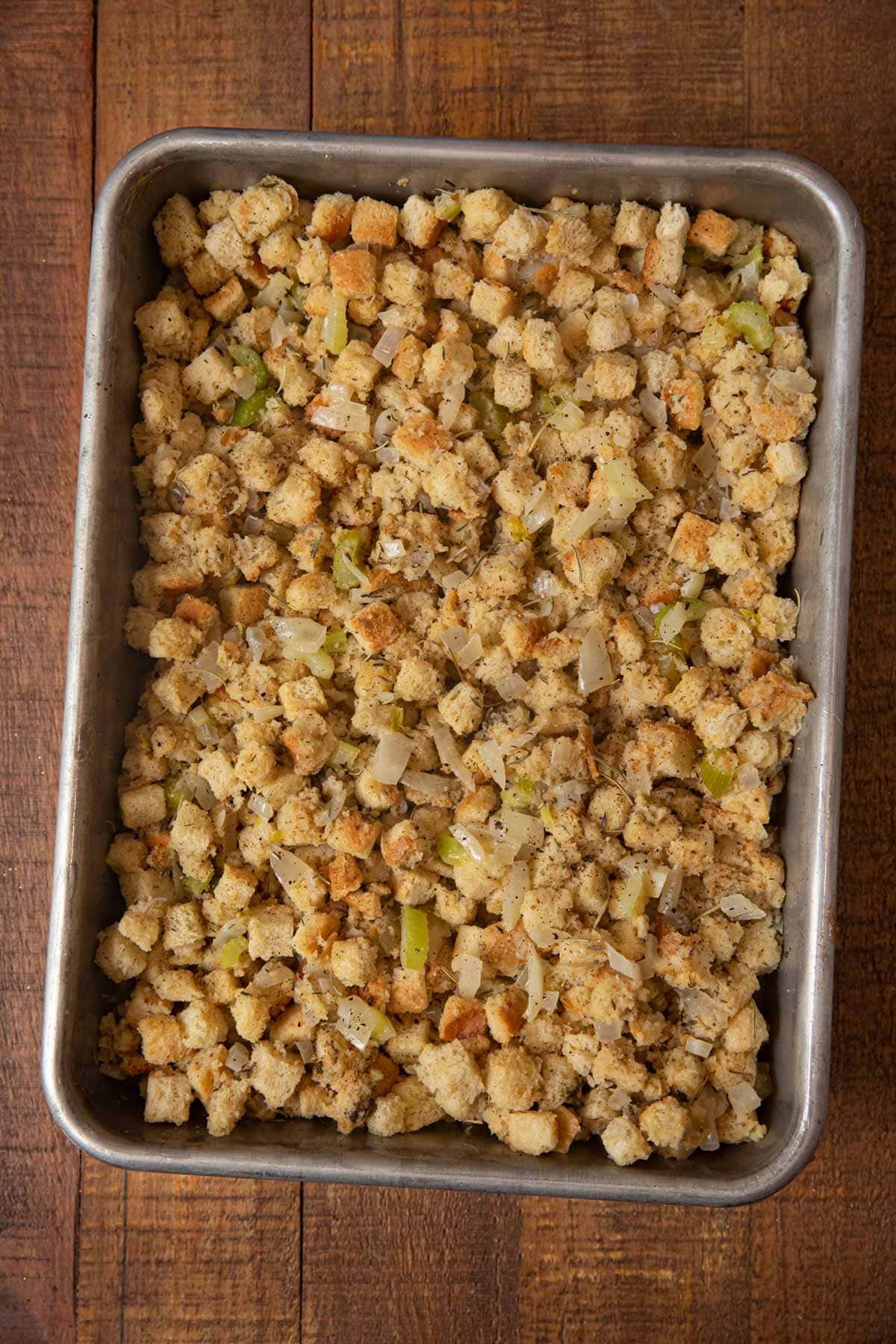 Classic Cube Stuffing in baking dish before cooking