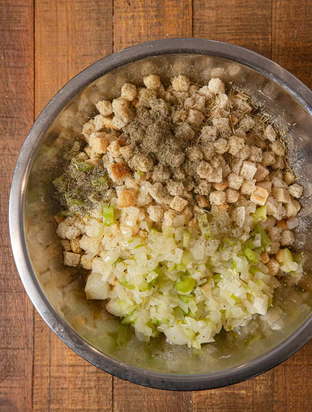 Classic Cube Stuffing ingredients in mixing bowl