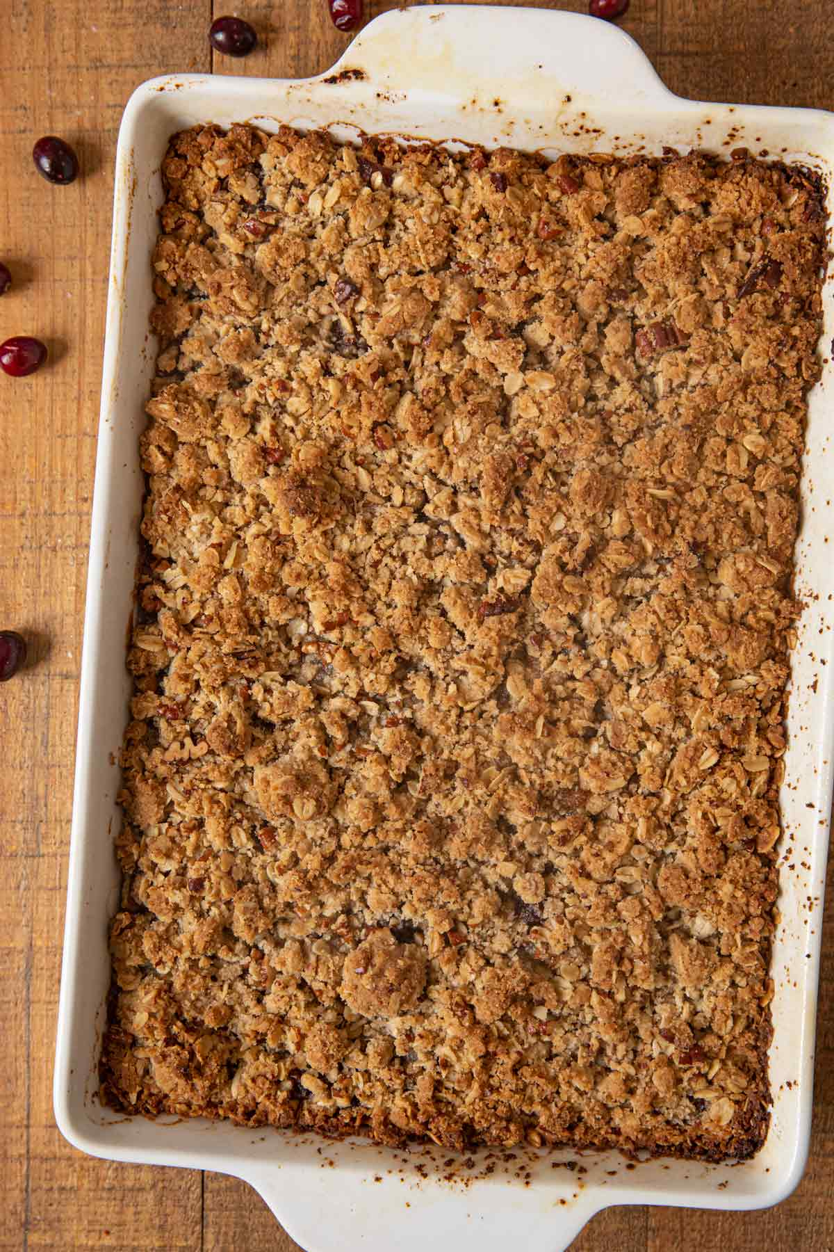 top-down view of Cranberry Oat Bars in baking dish