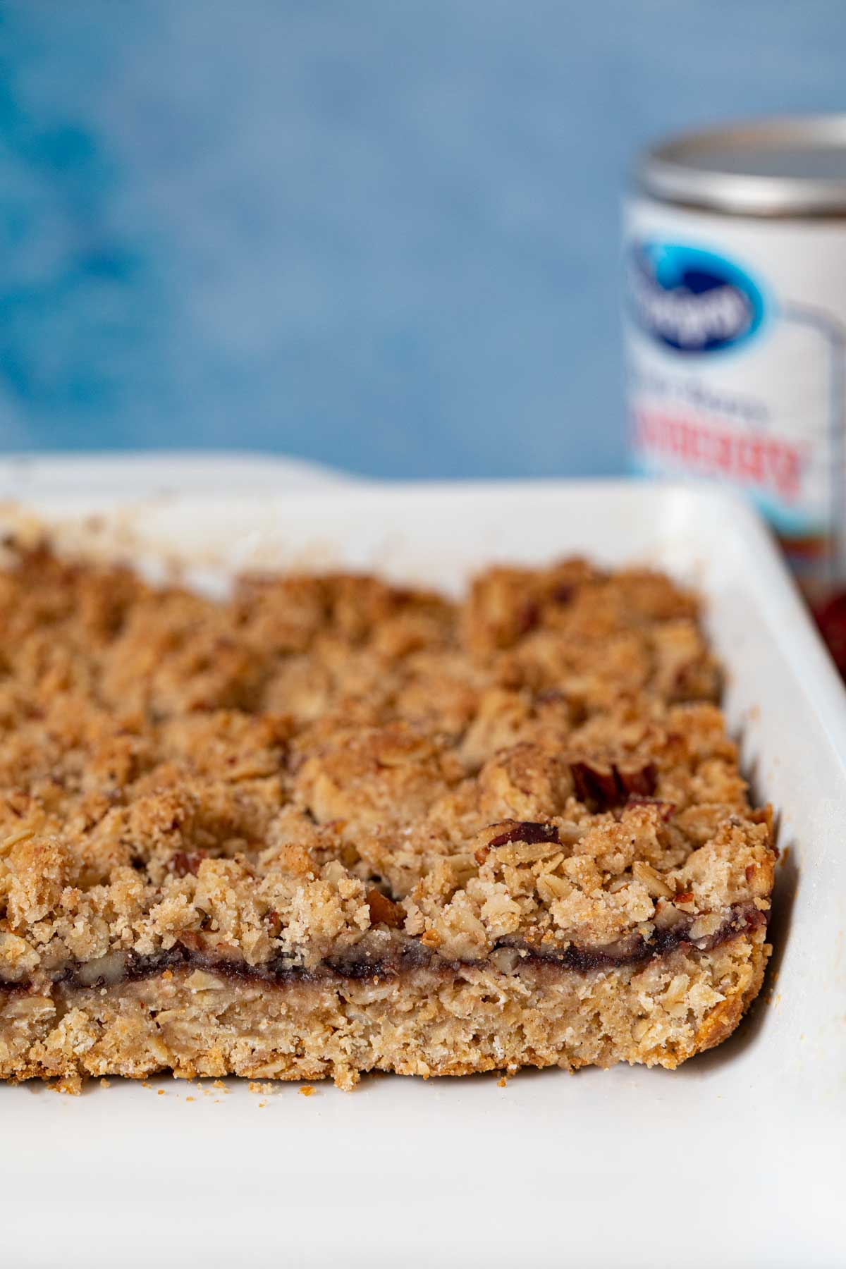 cross-section of Cranberry Oat Bars in bakinf dish