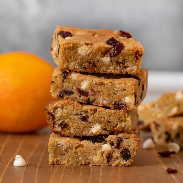 White Chocolate Cranberry Blondies with Orange in a stack