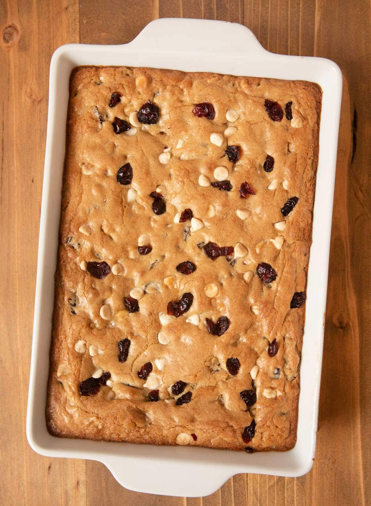 Baked White Chocolate Cranberry Blondies