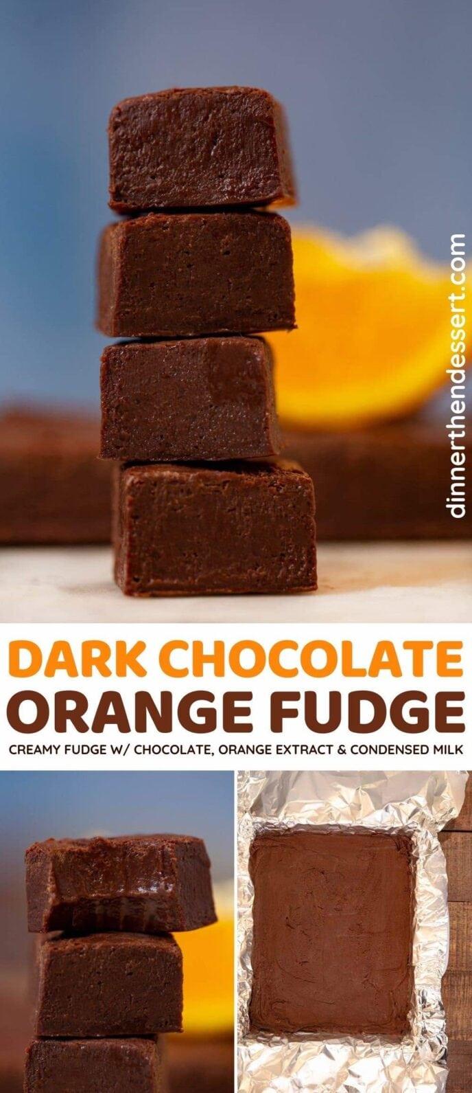 Dark Chocolate Orange Fudge collage