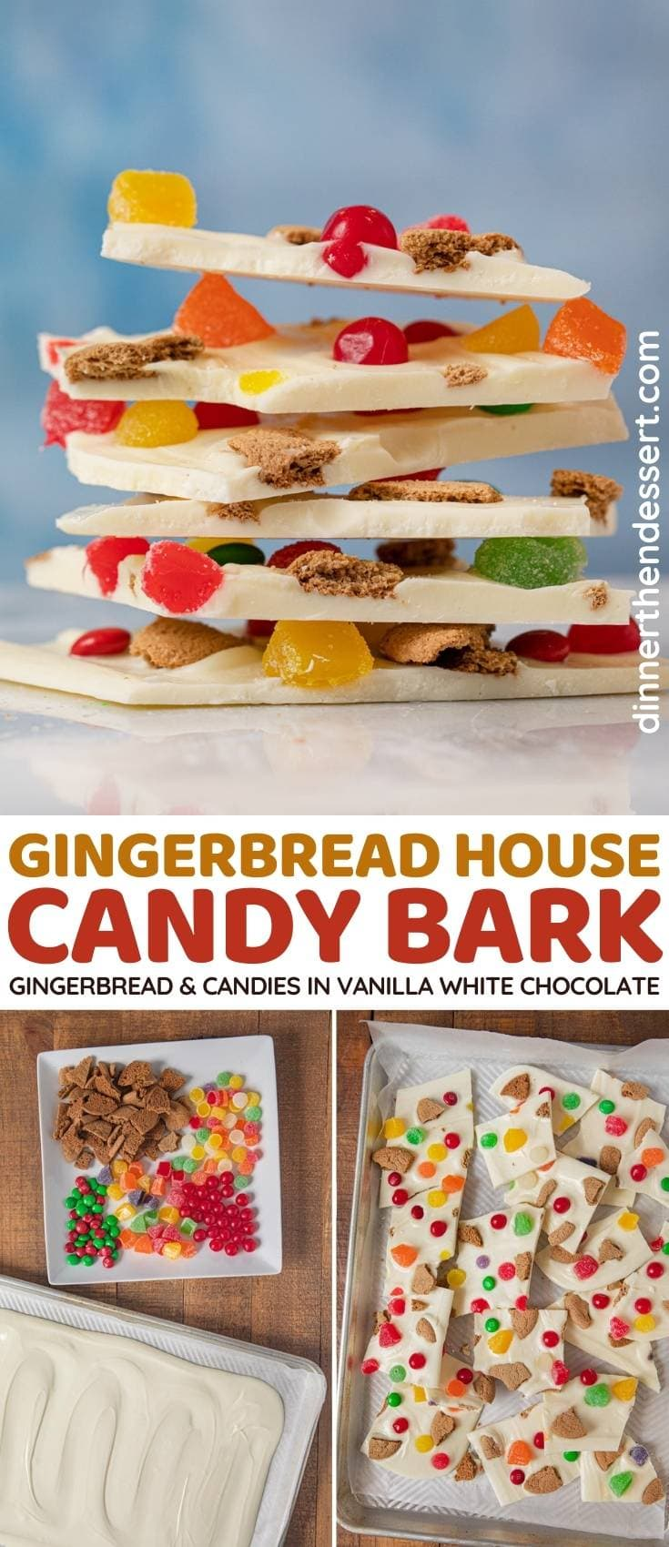 Gingerbread House Candy Bark collage