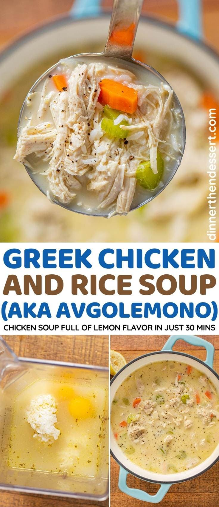 Greek Chicken and Rice Soup (Avgolemono) collage