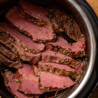 Instant Pot Corned Beef in pressure cooker, sliced