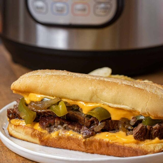 Instant Pot Philly Cheese Steak Sandwich on plate