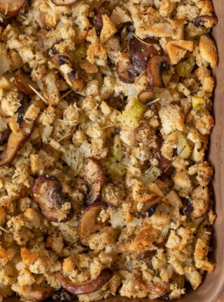 Mushroom Bread Pudding in baking dish