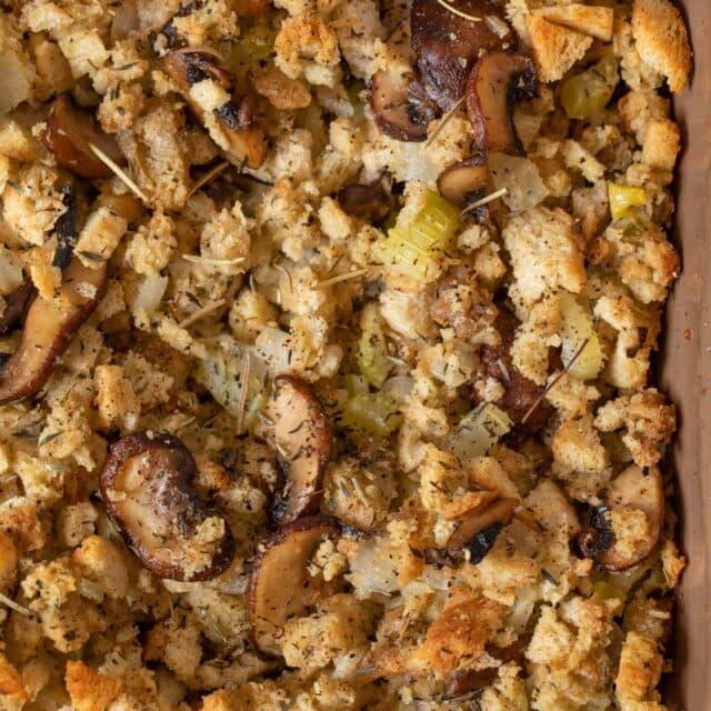 Mushroom Bread Pudding in baking dish