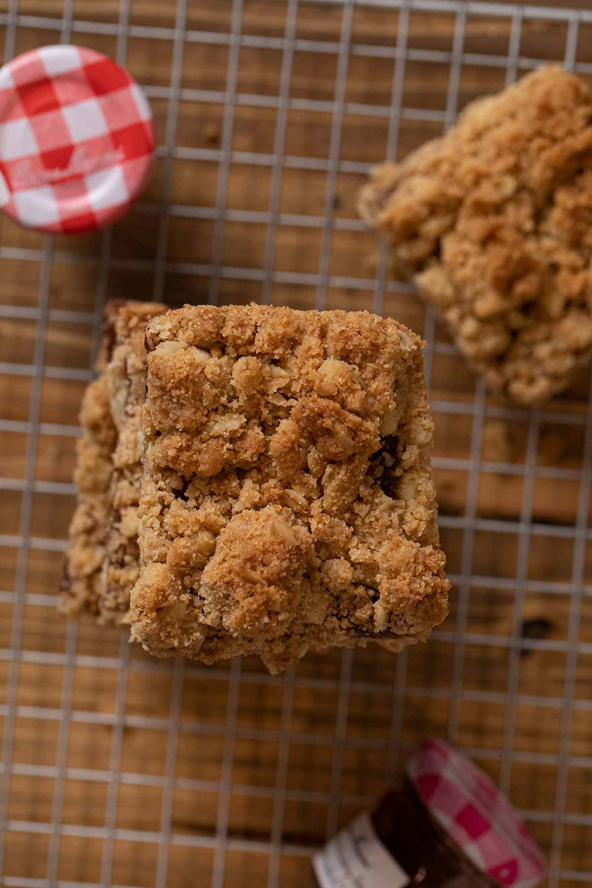 top-down view of Oatmeal Jam Bars in stack