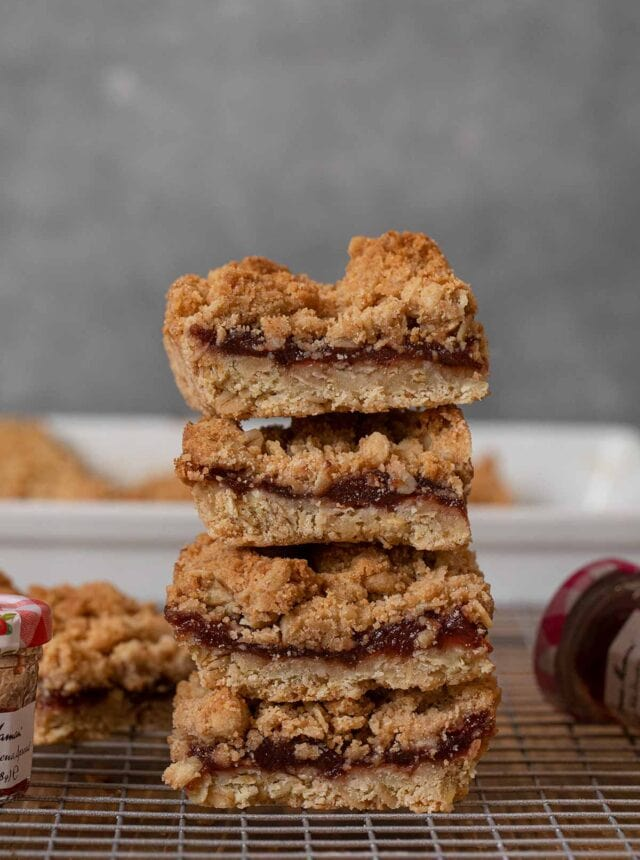 Oatmeal Jam Bars in stack