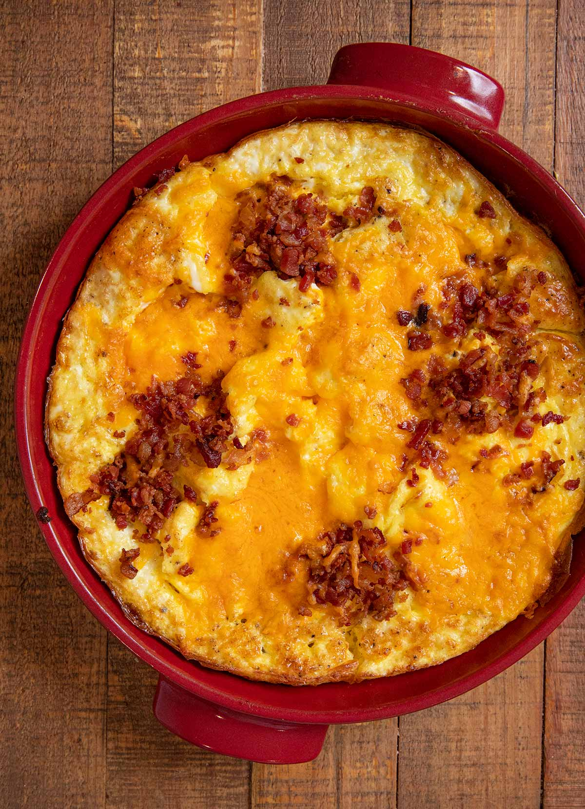 Oven Baked Cheddar Scrambled Eggs in baking dish