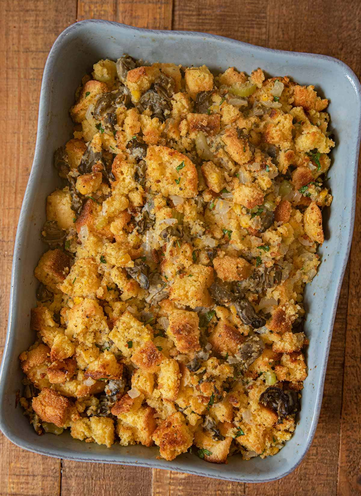 Oyster Cornbread Dressing in baking dish