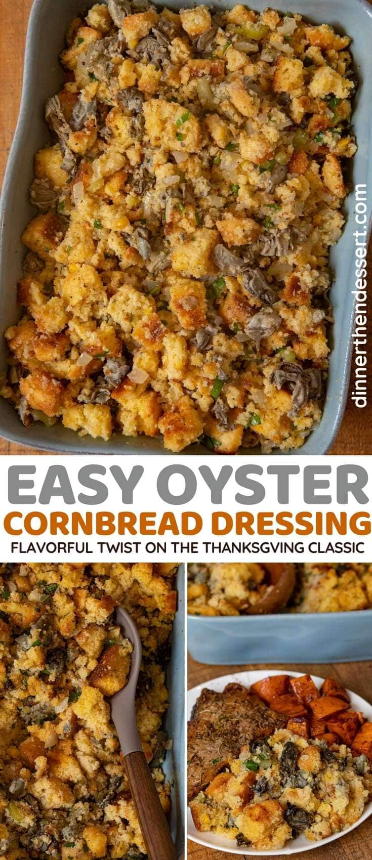 Oyster Cornbread Dressing collage