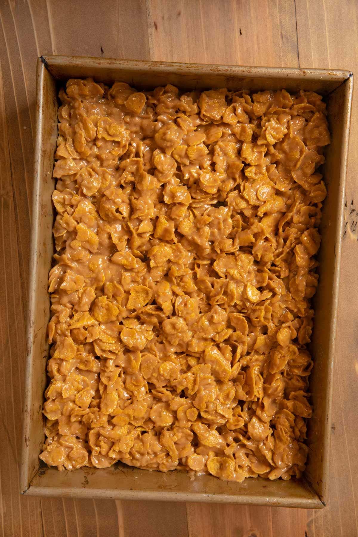 Peanut Butter Cornflake Bars in baking dish