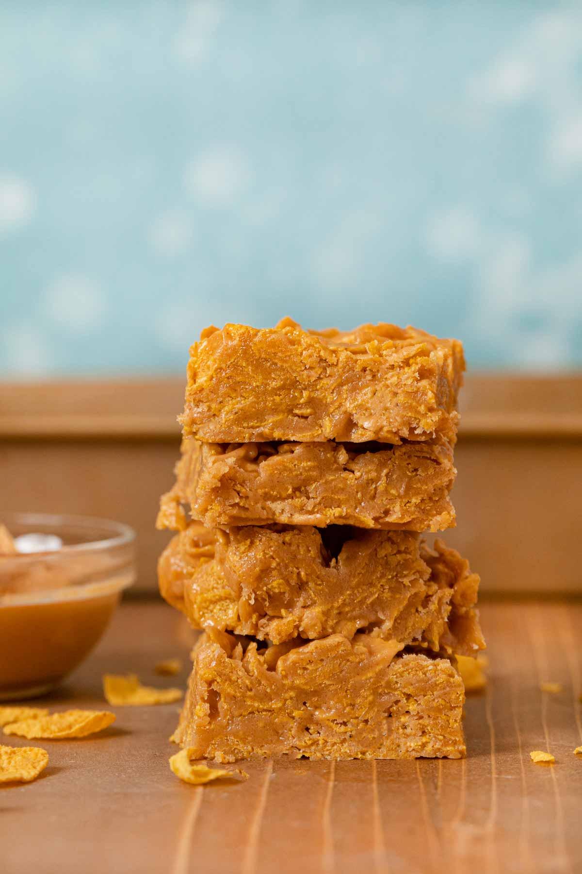 Peanut Butter Cornflake Bars in stack