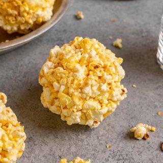 Popcorn Balls on table