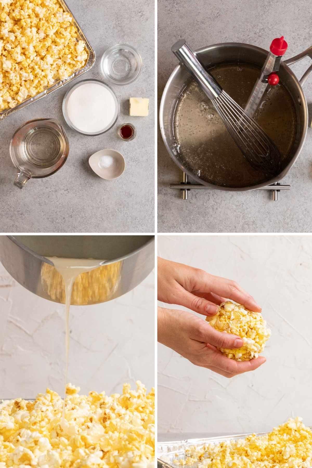 Popcorn Balls collage of prep steps