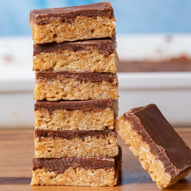 Scotcheroos bars in stack