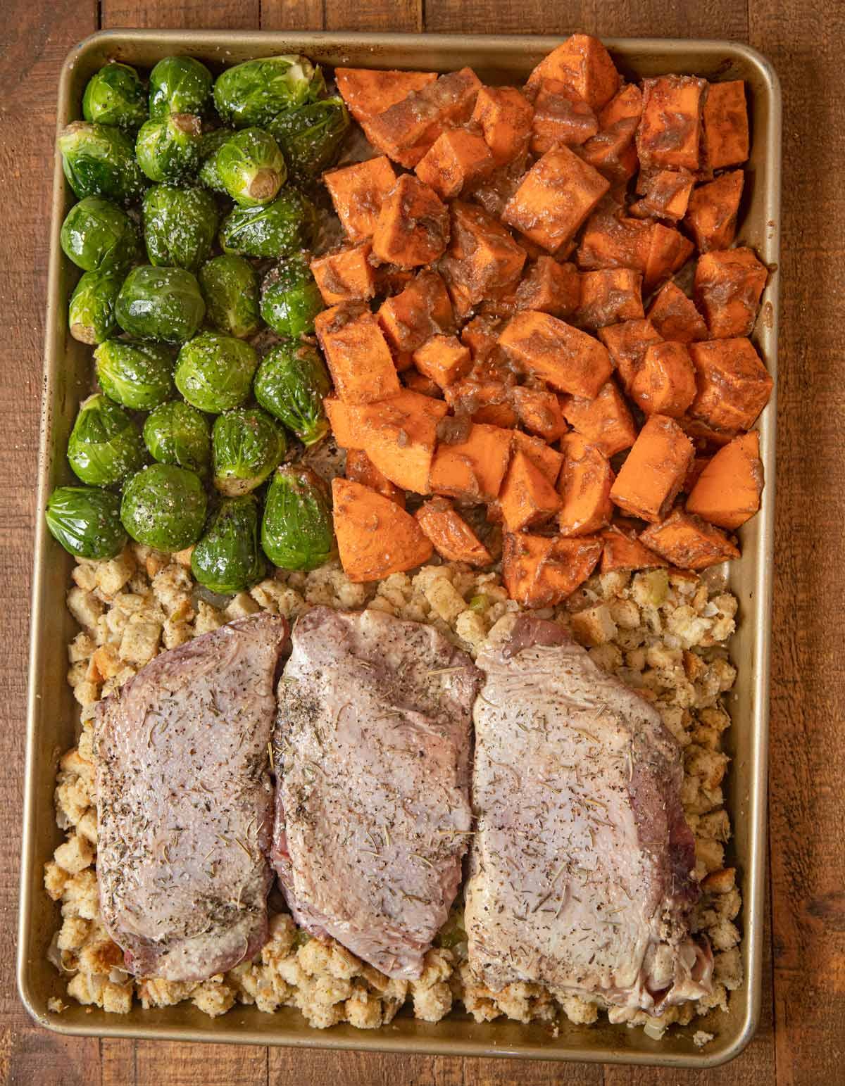Sheet Pan Thanksgiving Dinner before cooking
