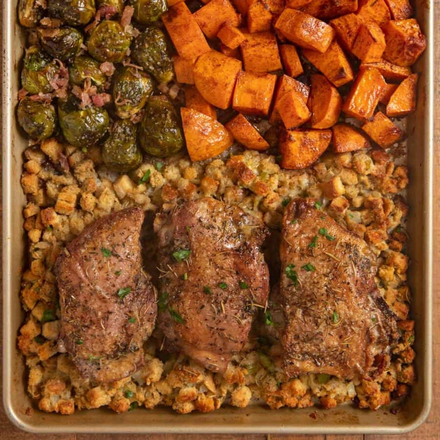 top-down view of Sheet Pan Thanksgiving Dinner