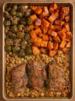 top-down view of Sheet Pan Thanksgiving Dinner