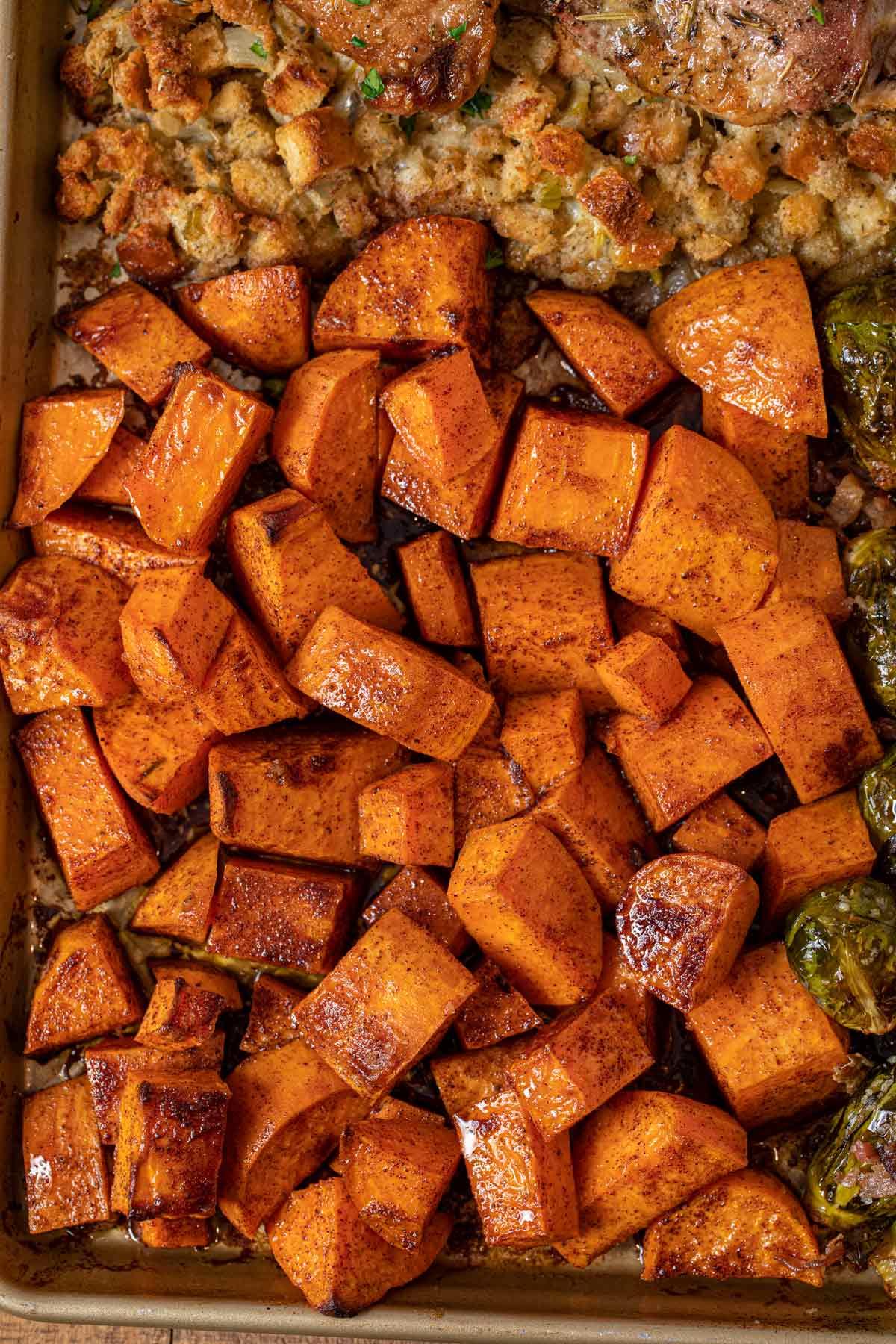 Sheet Pan Thanksgiving Dinner close up of sweet potatoes
