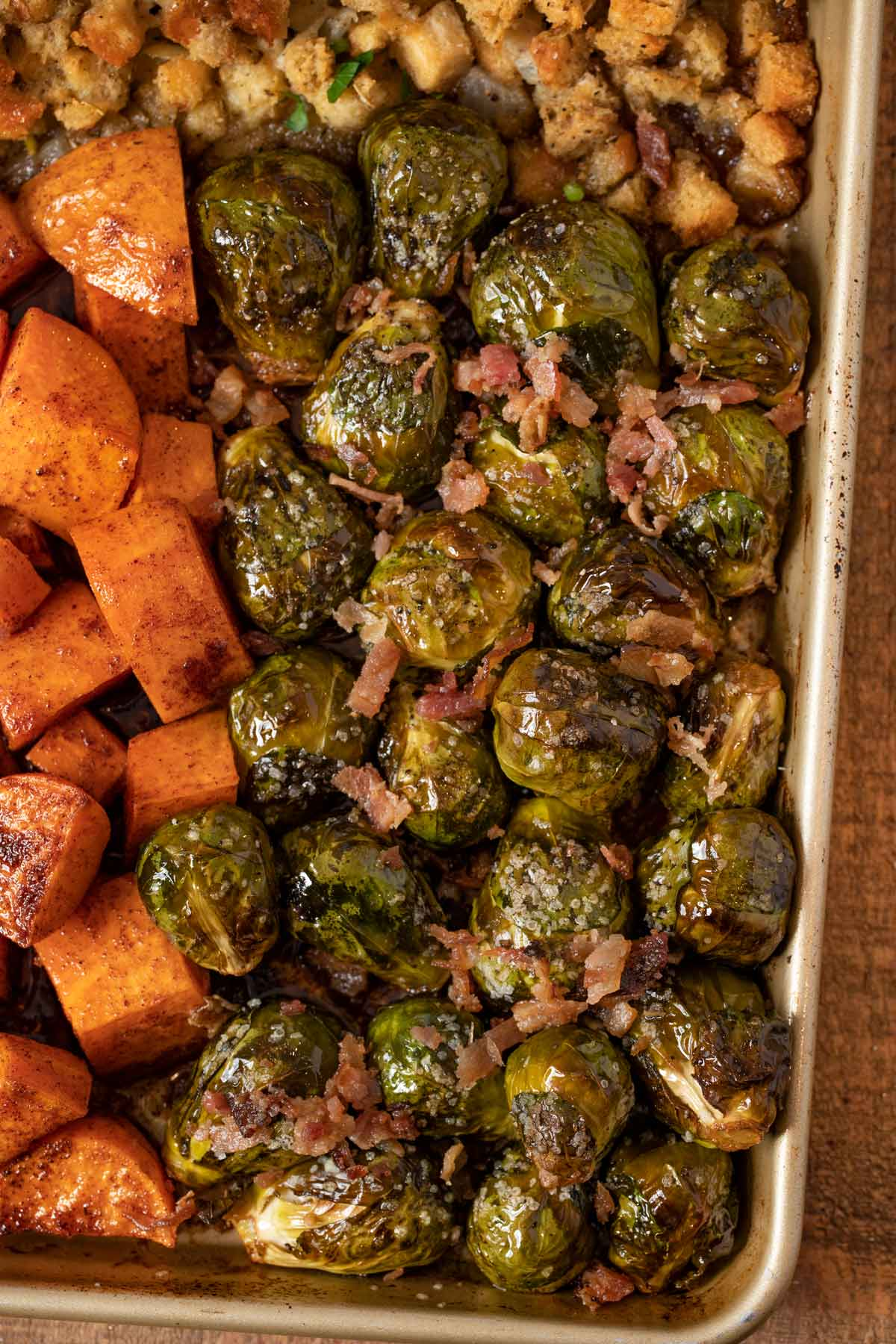 Sheet Pan Thanksgiving Dinner close up of bacon Brussels sprouts