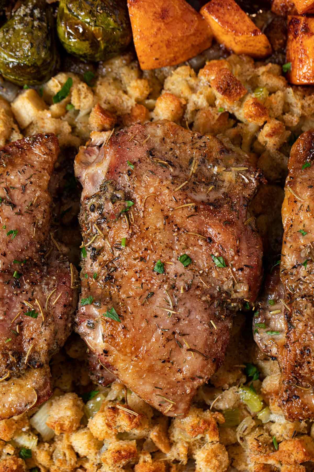Sheet Pan Thanksgiving Dinner close up of turkey thighs
