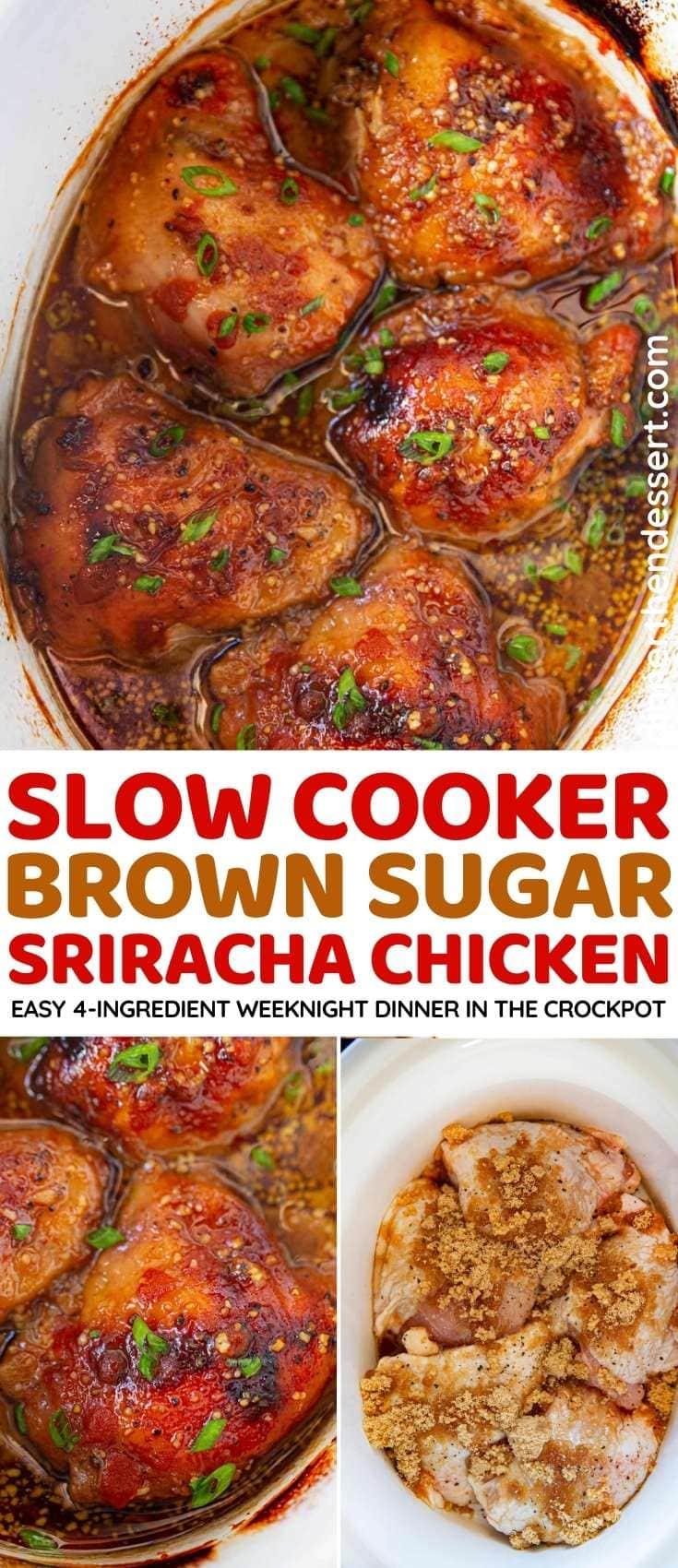 Slow Cooker Brown Sugar Sriracha Chicken collage