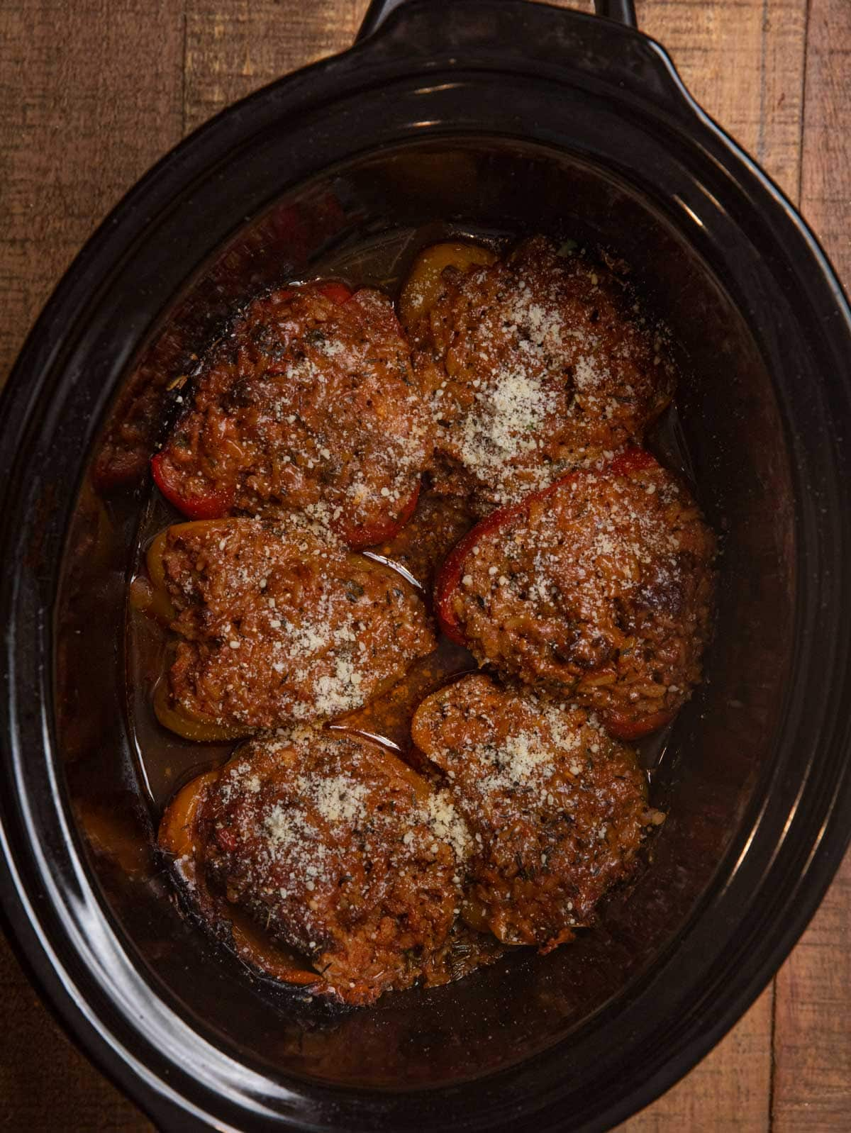Slow Cooker Stuffed Bell Peppers in crockpot