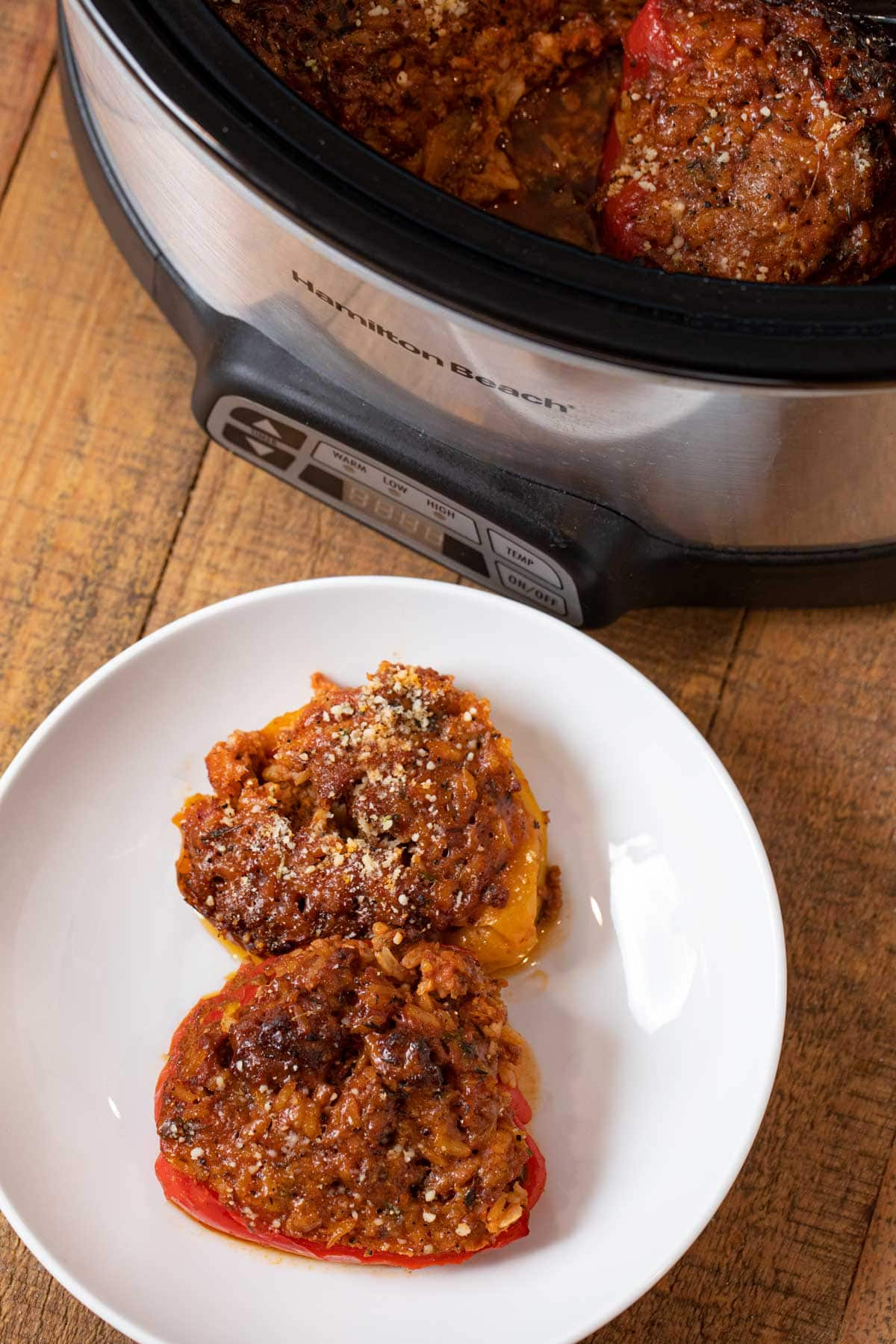 Slow Cooker Stuffed Bell Peppers on plate