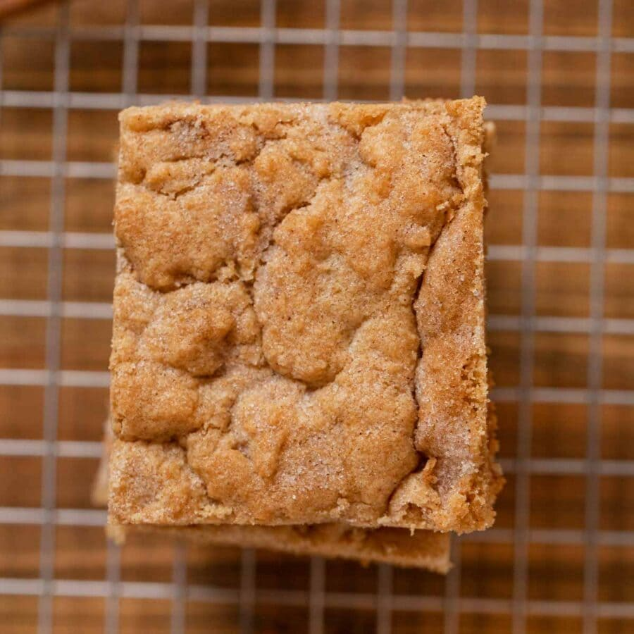 top-down view of Snickerdoodle Bars in stack