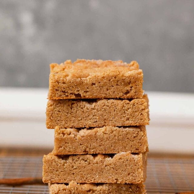 Snickerdoodle Bars in stack