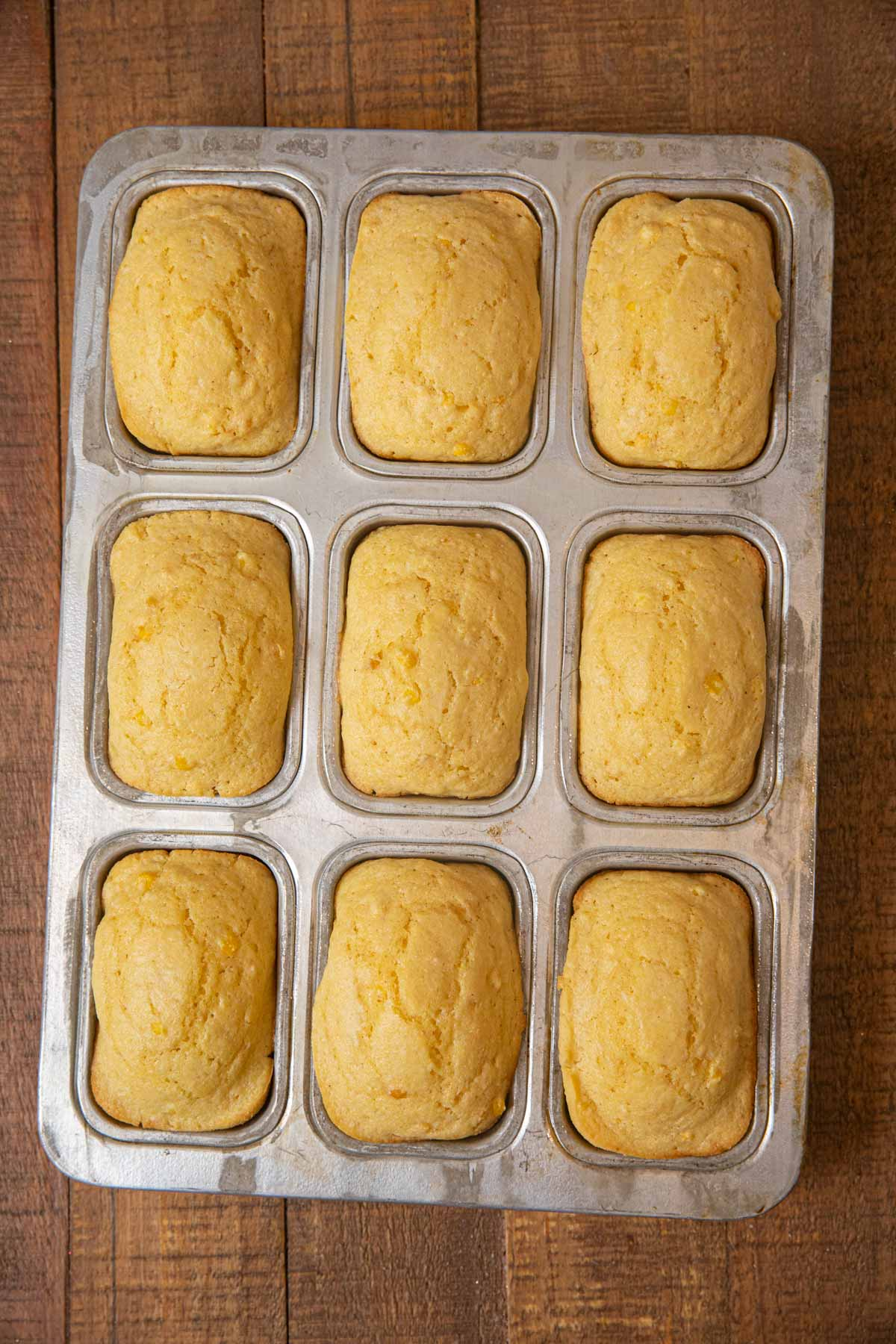 Souplantation Cornbread loaves in mini-loaf pan