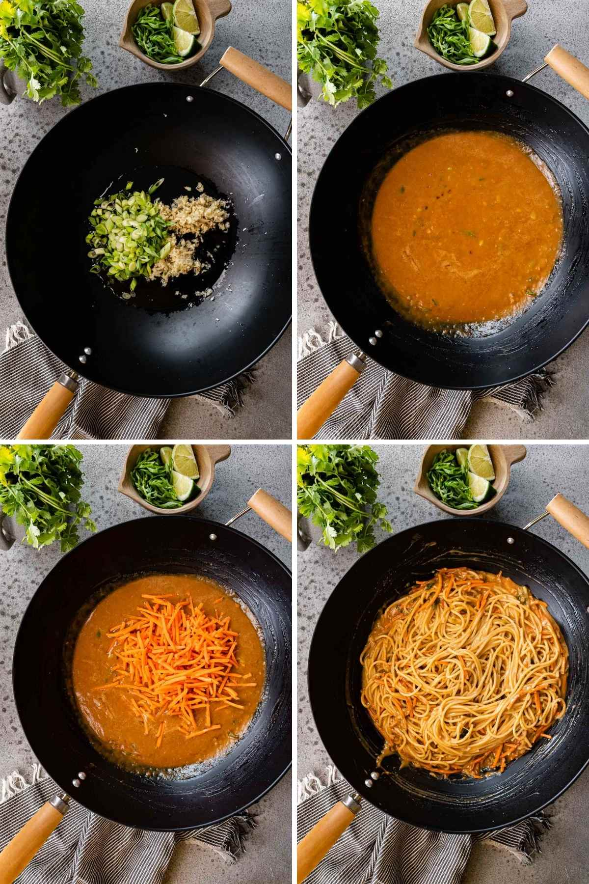 Collage of cooking steps for Spicy Peanut Noodles