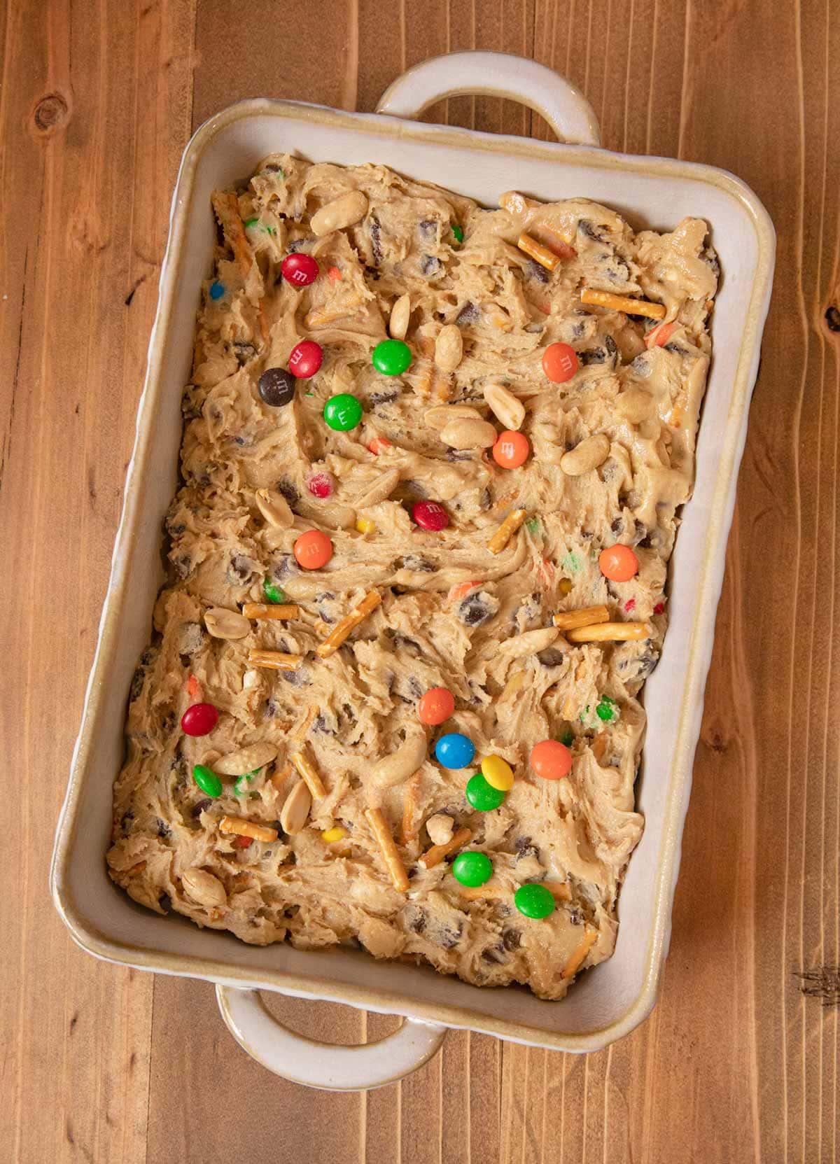 Trail Mix Blondies in baking dish before baking