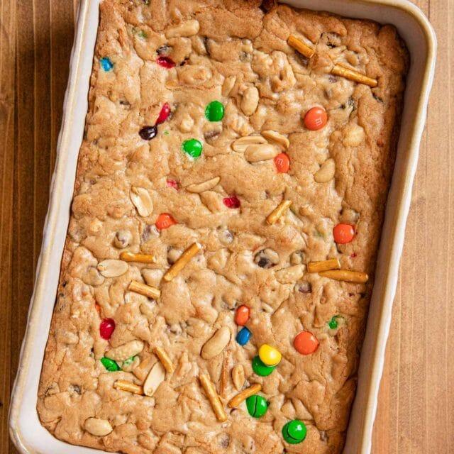 Trail Mix Blondies in baking dish