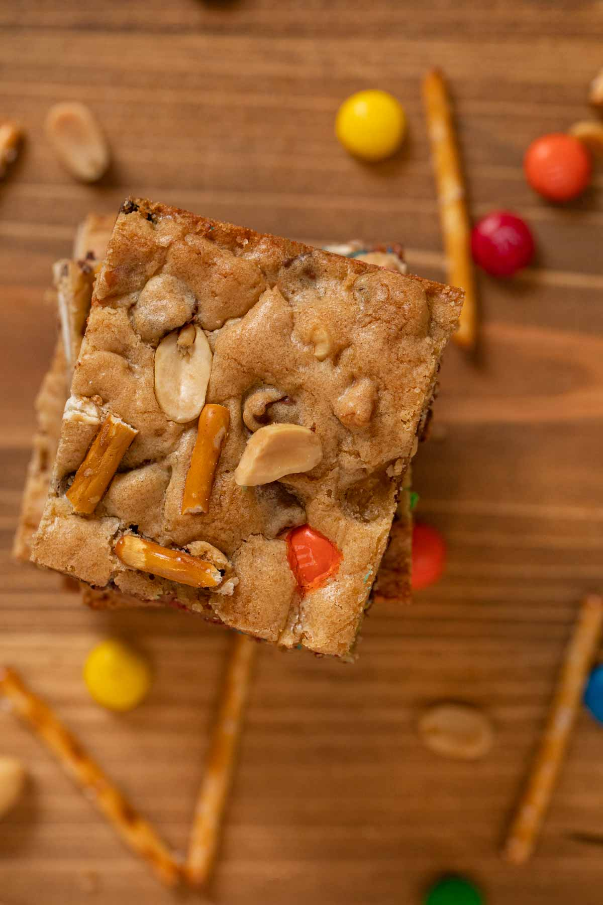 top-down view of Trail Mix Blondies bars in stack