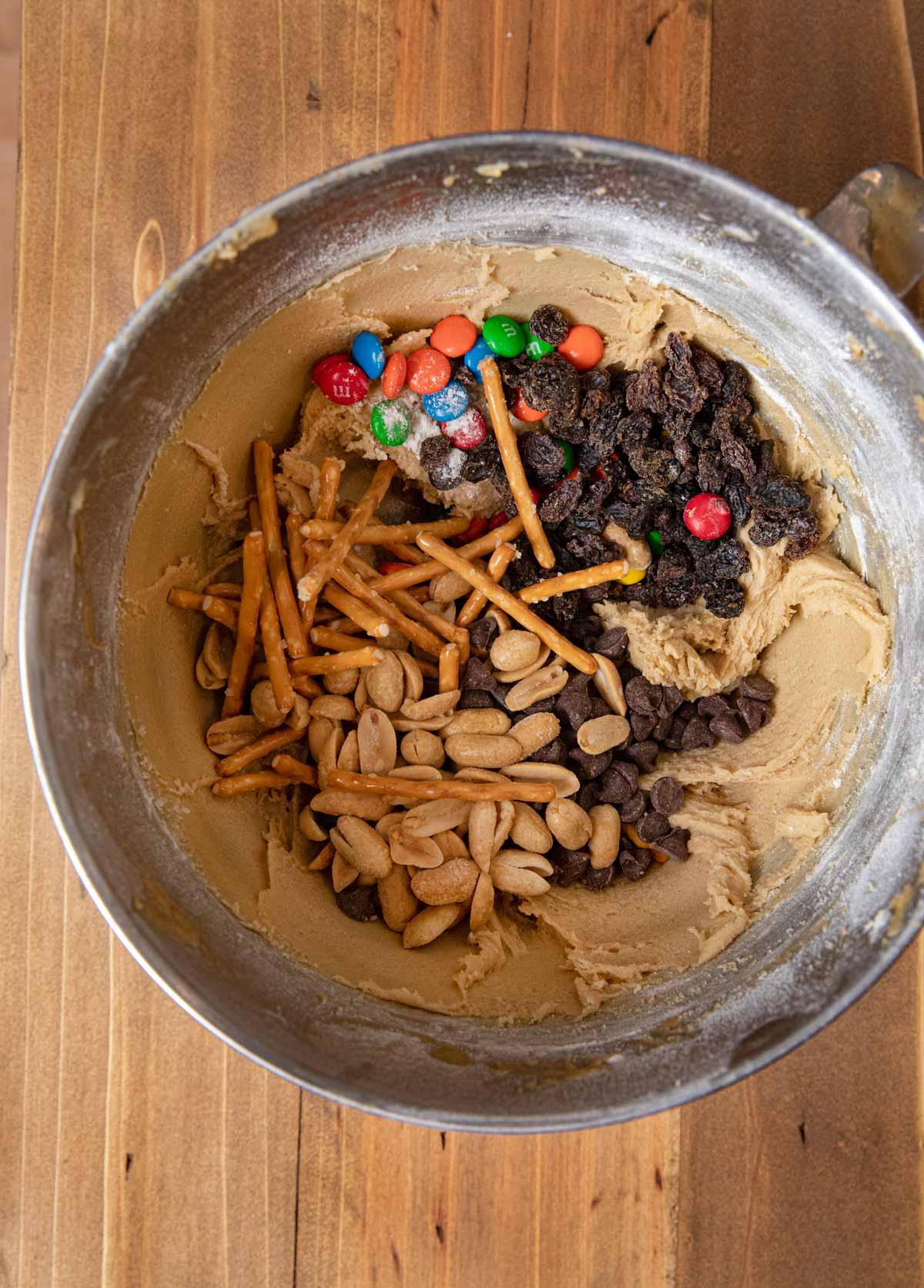 Trail Mix Blondies ingredients in bowl