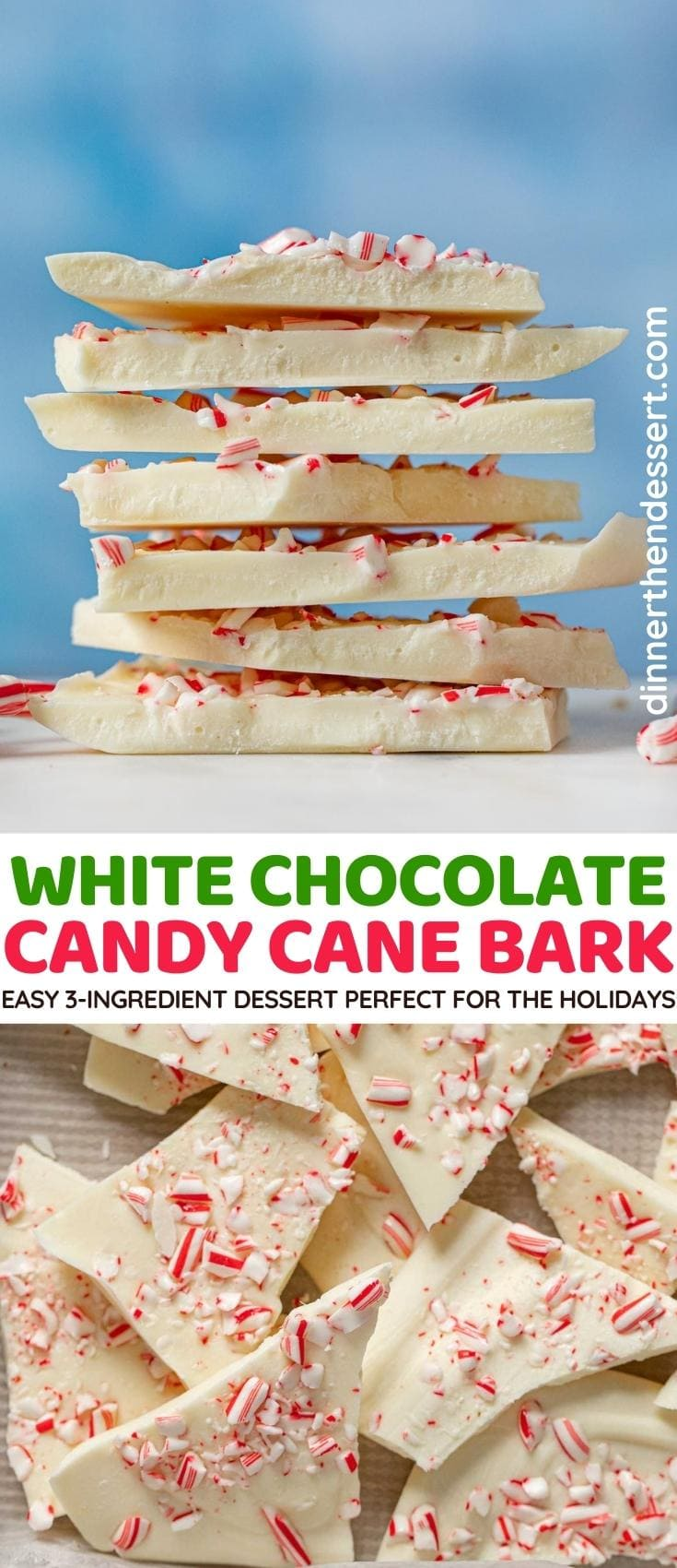 White Chocolate Candy Cane Bark collage