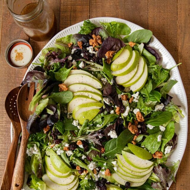 top-down view of Winter Pear Salad