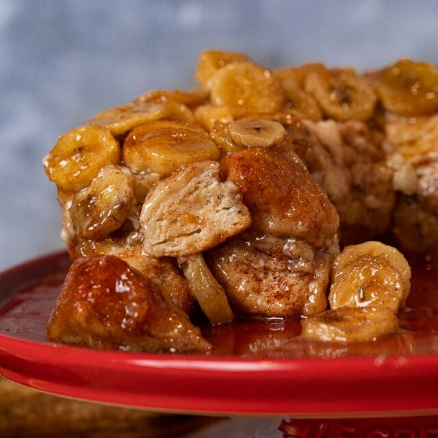 cross-section of Banana Monkey Bread on cake stand