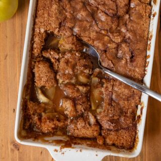 Caramel Apple Cobbler with a spoon