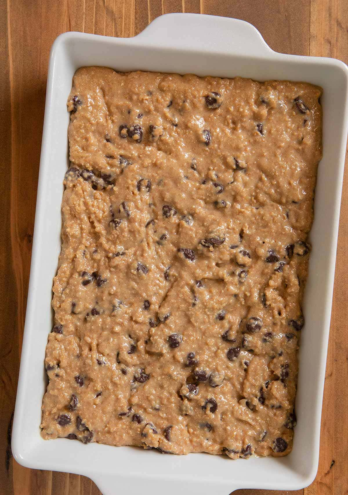 Chewy Graham Cracker Bars in baking dish before baking