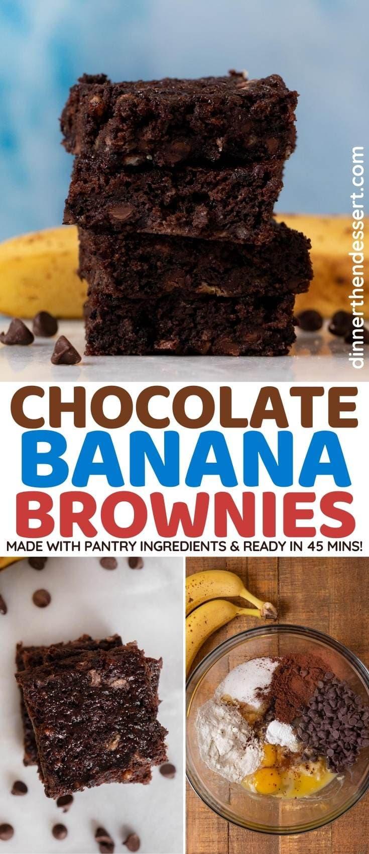 Chocolate Banana Brownies collage
