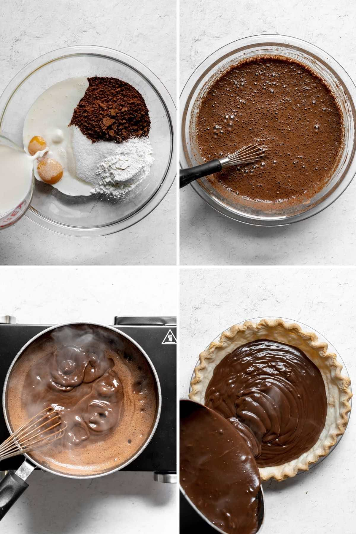 Collage of prep steps for Chocolate Cream Pie