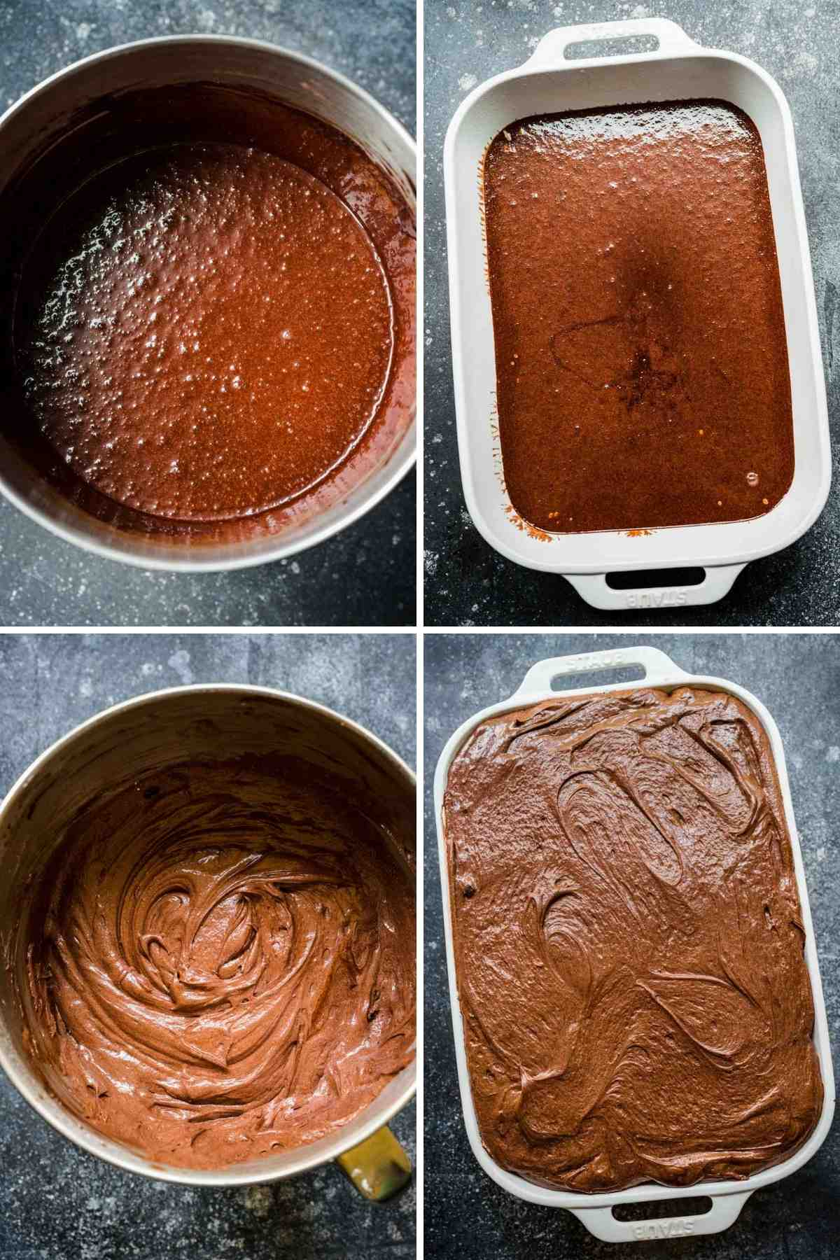 Chocolate Pudding Dirt Cake Collage of prep steps
