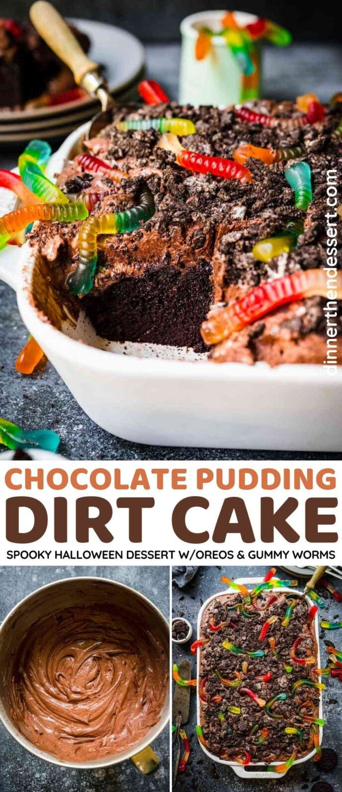 Chocolate Pudding Dirt Cake Collage